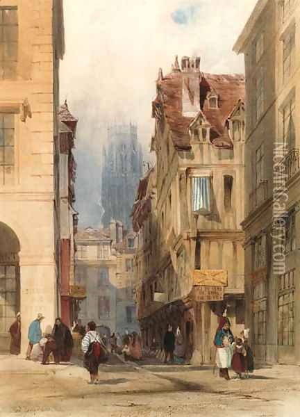 View in the Rue de la Tuile, Rouen, with the tower of St. Ouen in the distance, France Oil Painting - Thomas Shotter Boys