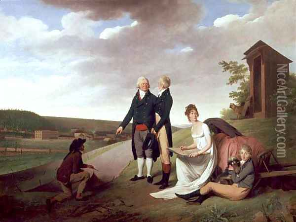 Christophe-Philippe Oberkampf and family in front of his factory at Jouy, 1803 Oil Painting - Louis Leopold Boilly