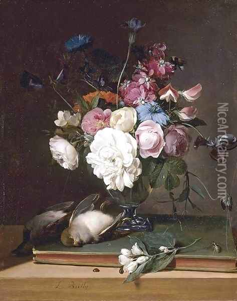 Still-Life of Flowers in a Glass Vase 1790-95 Oil Painting - Louis Leopold Boilly