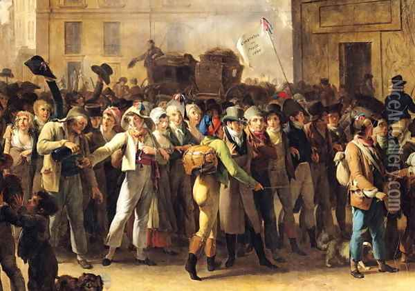 The Conscripts of 1807 Marching Past the Gate of Saint-Denis (detail of the conscripts) Oil Painting - Louis Leopold Boilly