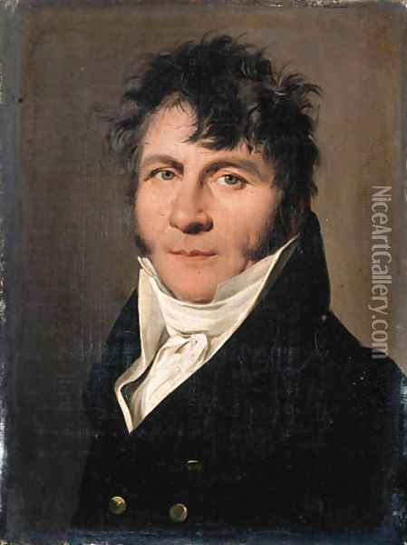Portrait of a gentleman, small bust-length, in a black jacket 3 Oil Painting - Louis Leopold Boilly