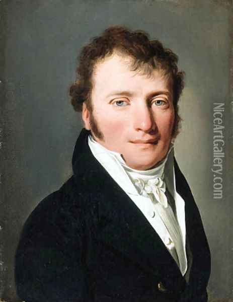 Portrait of a gentleman, small bust-length, in a black jacket 4 Oil Painting - Louis Leopold Boilly