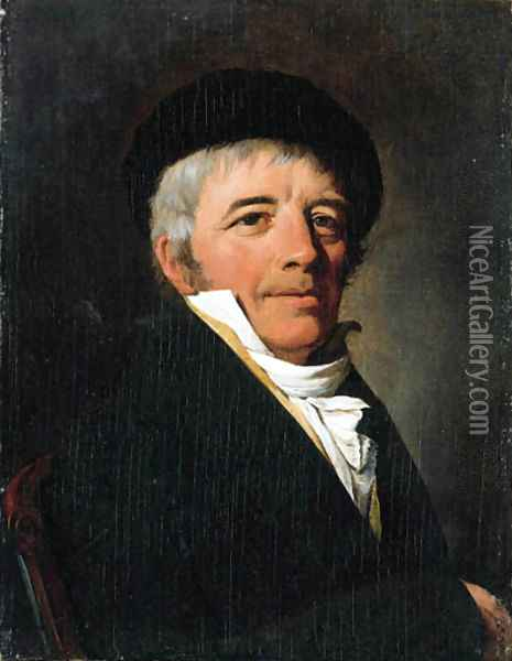 Portrait of a gentleman, small bust-length, in a black jacket and a black beret Oil Painting - Louis Leopold Boilly