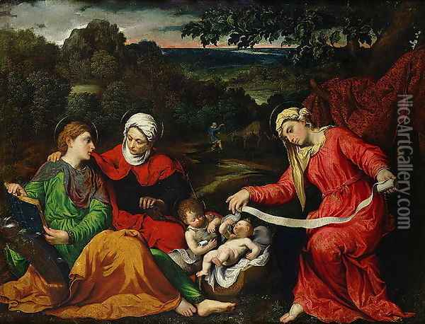 Rest on the Flight into Egypt with St. John the Baptist, St. Elizabeth and St. Catherine c.1545 Oil Painting - Paris Bordone