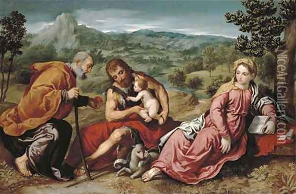 The Holy Family with Saint John the Baptist in an extensive landscape Oil Painting - Paris Bordone