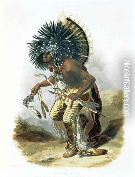 Pehriska-Ruhpa, Minatarre Warrior in the Costume of the Dog Dance, plate 23 from Volume 2 of 'Travels in the Interior of North America' 1844 Oil Painting - Karl Bodmer