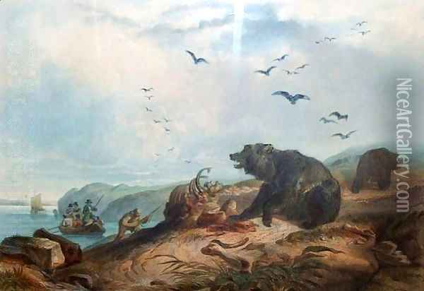 Hunting the Grizzly Bear Oil Painting - Karl Bodmer