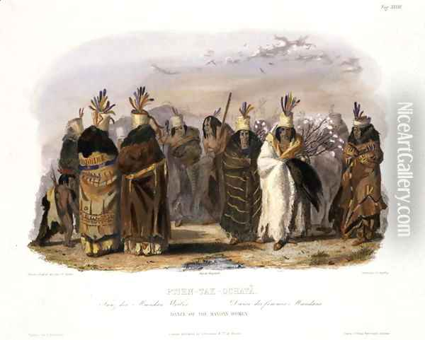 Ptihn-Tak-Ochata, Dance of the Mandan Women, plate 28 from Volume 1 of 'Travels in the Interior of North America' Oil Painting - Karl Bodmer