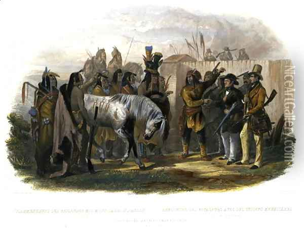 The Travellers Meeting with Minatarre Indians near Fort Clark, plate 26 from Volume 1 of 'Travels in the Interior of North America' 1843 Oil Painting - Karl Bodmer