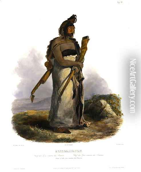 Mexkemahuastan, Chief of the Gros-Ventres of the Prairies, plate 20 from Volume 1 of 'Travels in the Interior of North America' 1843 Oil Painting - Karl Bodmer