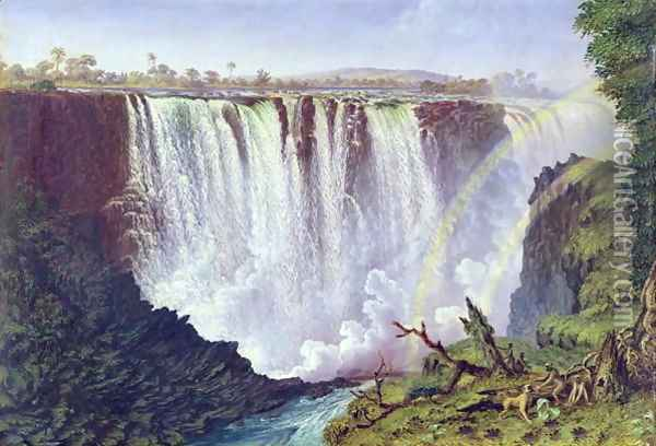The Great Western Fall, Victoria Falls 1862 Oil Painting - Thomas Baines