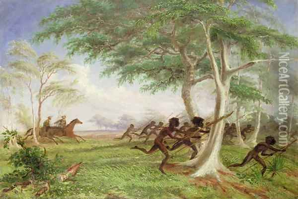 Dispersal of hostile tribes near Baines River Oil Painting - Thomas Baines
