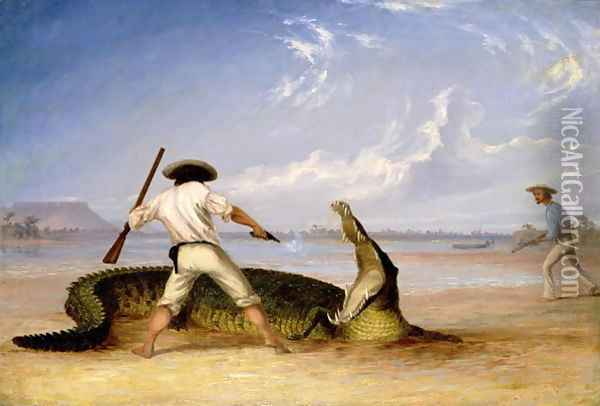 T.Baines and C.Humphrey killing an alligator on Horse Shoe flats Oil Painting - Thomas Baines