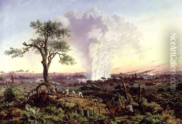 Victoria Falls at Sunrise, with 'The Smoke', or 'Spraycloud' 1863 Oil Painting - Thomas Baines