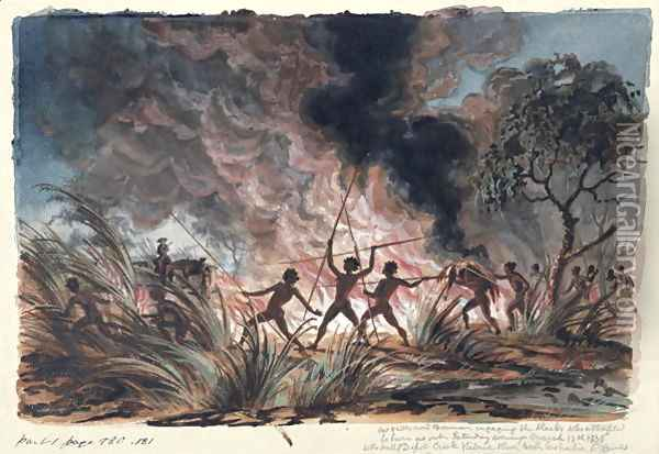 Mr Phibbs and Bowman engaging the blacks who attempted to burn us out... Depot Creek, Victoria Oil Painting - Thomas Baines