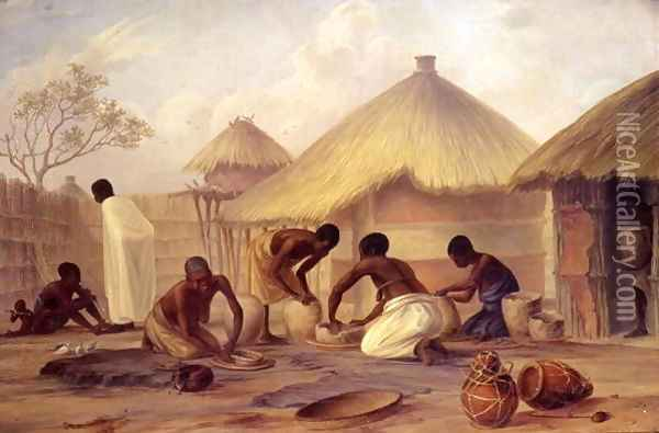 Manufacture of sugar at Katipo - making pots to contain it Oil Painting - Thomas Baines