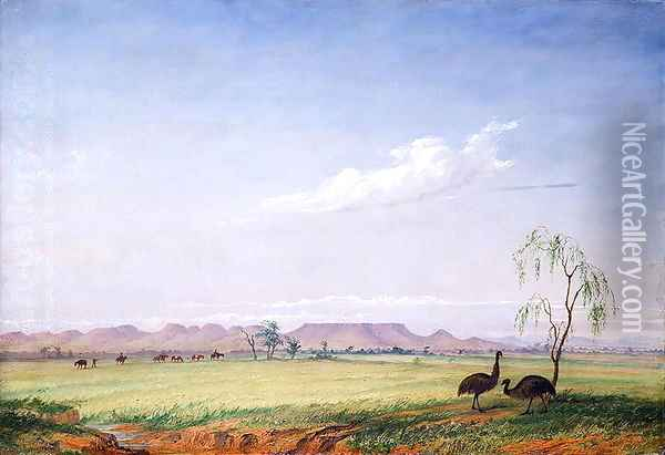 Emus on the Trap Plain Oil Painting - Thomas Baines