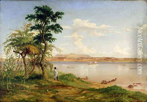 Town of Tete from the north shore of the Zambesi Oil Painting - Thomas Baines