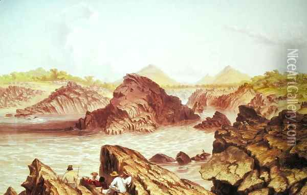 Three Channel Rapids above Kebrabasa on the Zambezi Oil Painting - Thomas Baines