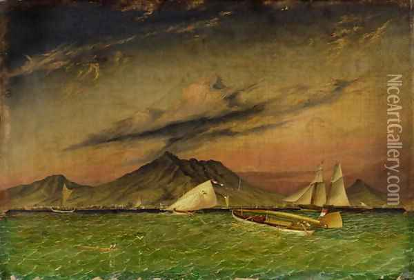 The Tom Tough hove to for a pilot to Surabaya off Passoeroean on the Java Coast Oil Painting - Thomas Baines