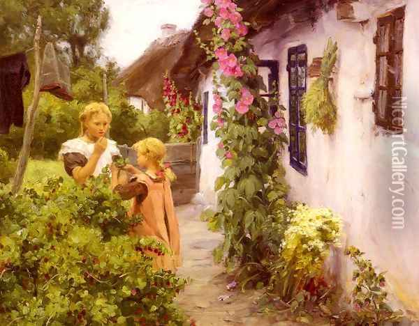 The Cottage Garden Oil Painting - Hans Anderson Brendekilde