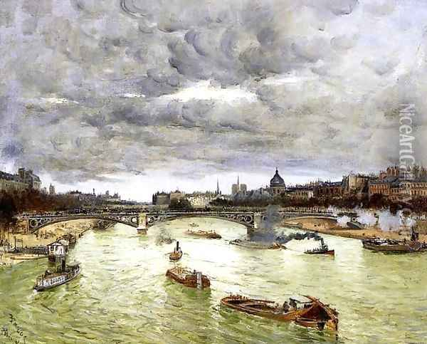 The Seine At Paris With The Pont Du Carousel Aka The Seine At Paris Pont Alexander III Oil Painting - Frank Myers Boggs