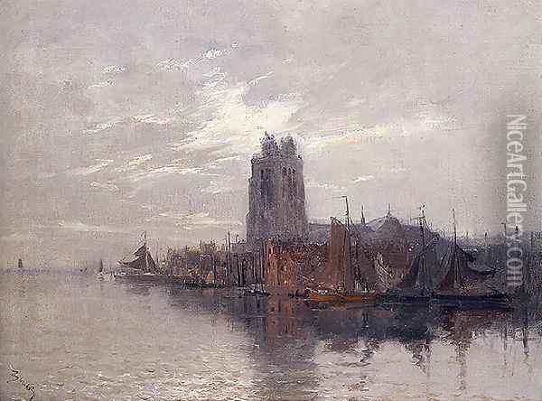 A View of Dordrecht Oil Painting - Frank Myers Boggs