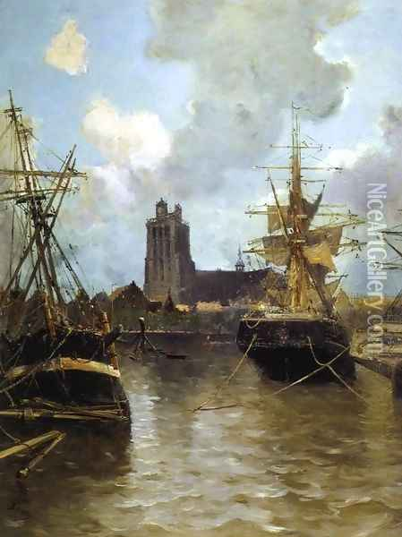 Dordrecht Harbor Oil Painting - Frank Myers Boggs