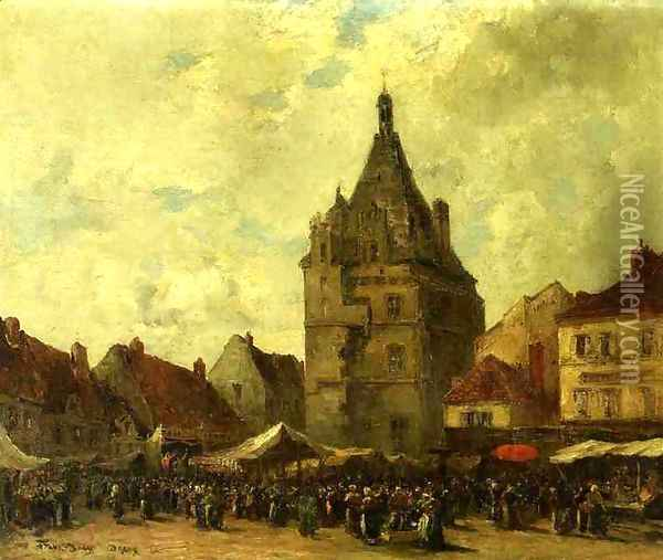 Market Day Dreux Oil Painting - Frank Myers Boggs