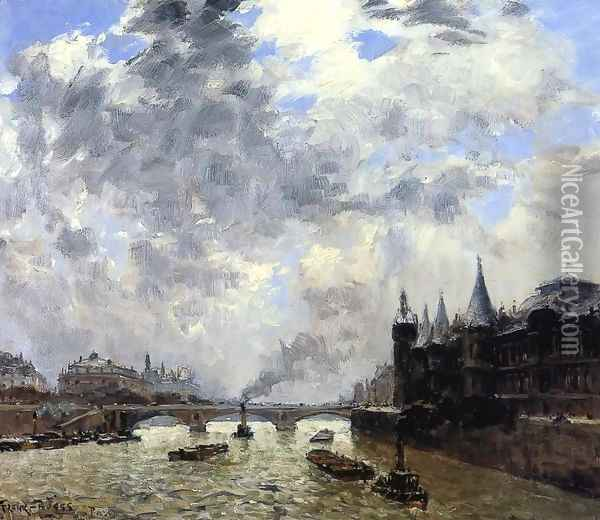 The Seine At Paris Oil Painting - Frank Myers Boggs