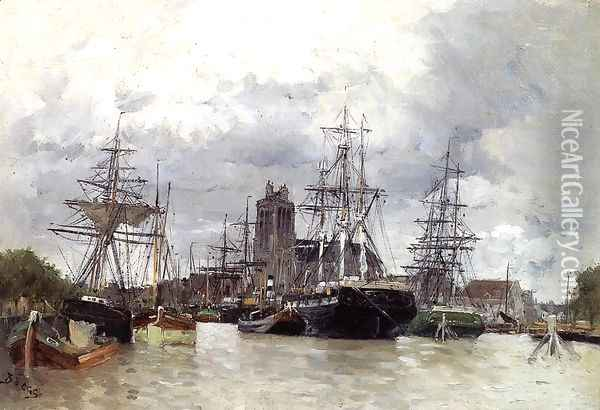 Dordrecht Harbor With Shipping And Cathedral Oil Painting - Frank Myers Boggs
