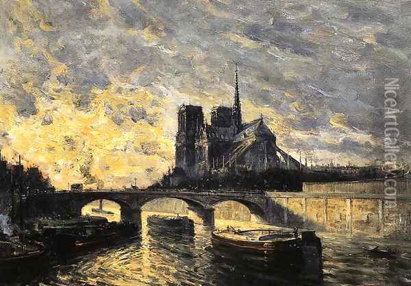 View Of Notre Dame Oil Painting - Frank Myers Boggs