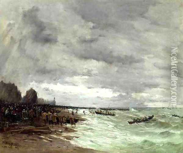 Beaching The Boats At Grandcamps Normandy Oil Painting - Frank Myers Boggs