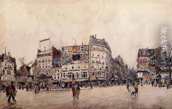 The Moulin Rouge And The Rue Lepic As Seen From The Place Blanche Oil Painting - Frank Myers Boggs