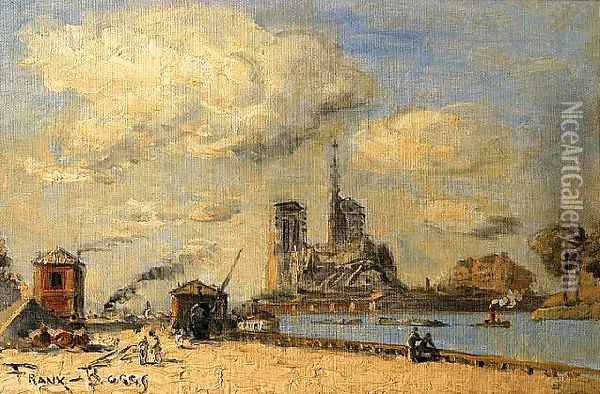 Banks of the Seine Oil Painting - Frank Myers Boggs