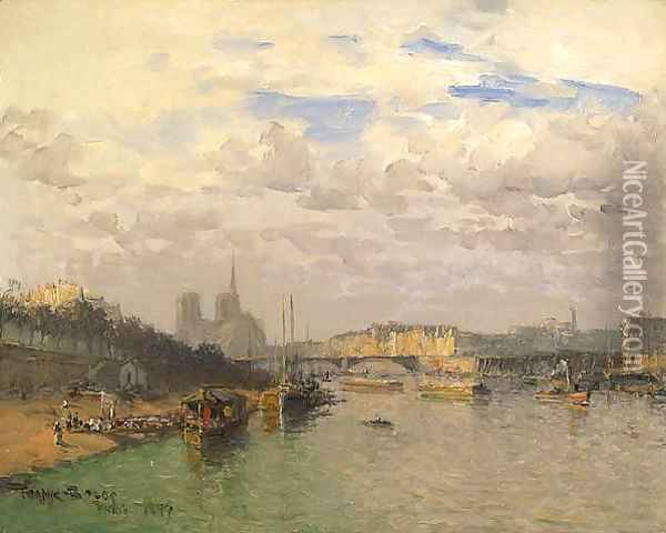 La Seine at Norte Dame Oil Painting - Frank Myers Boggs