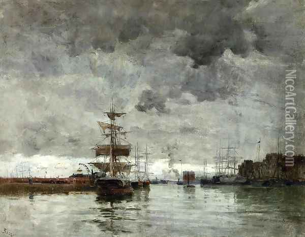 The Port Oil Painting - Frank Myers Boggs