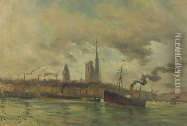 Harbour at Rouen Oil Painting - Frank Myers Boggs