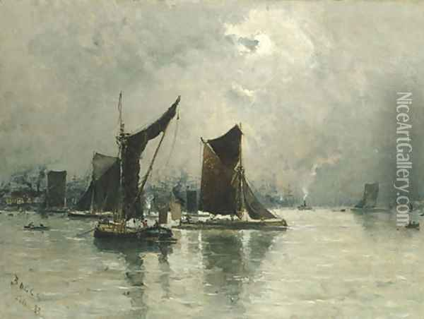 On the Thames 1883 Oil Painting - Frank Myers Boggs