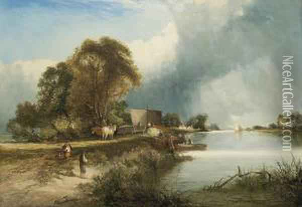 A Busy Day Along The River Oil Painting - Edward Charles Williams