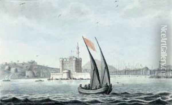 The Castle At The Entrance To The New Harbour Of Alexandria Bearings.e. 65., Near The Castle To The Left Is The Ancient Obelisk Knownby The Name Of Cleopatra's Needle, On The Right Is A Distant Viewof Pompey's Pillar - Taken On Board The Oil Painting - Rev. Cooper Willyams