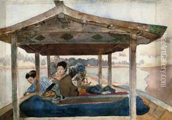 Japanese Figures On A Boat Oil Painting - Charles A., Wirgman Jnr.