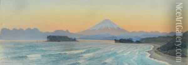 Mount Fuji From Shichirigahama Beach, Japan; A Japanese Garden In Bloom Oil Painting - Charles A., Wirgman Jnr.