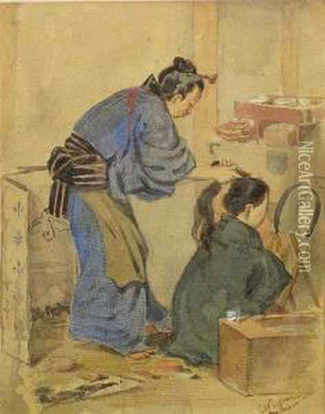 Two Japanese Figures In An Interior Oil Painting - Charles A., Wirgman Jnr.
