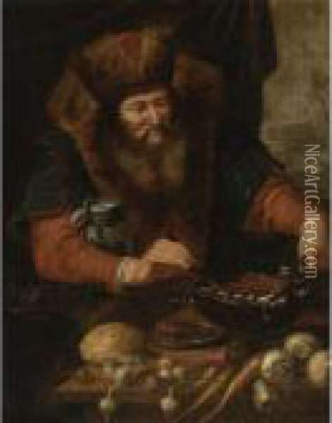 Bearded Man Cooking Sausages Oil Painting - Artus Wollfort