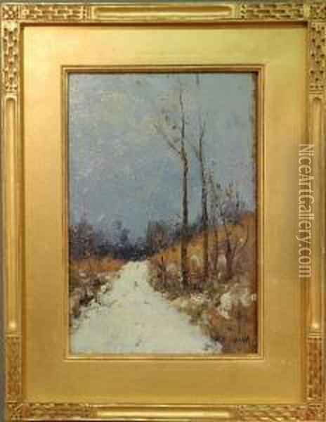 A Winter Landscape With A Snow Oil Painting - Gustave Wolff