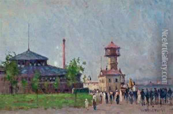 Castle Garden At Battery Park With The Fire Boattower Oil Painting - Gustave Wolff
