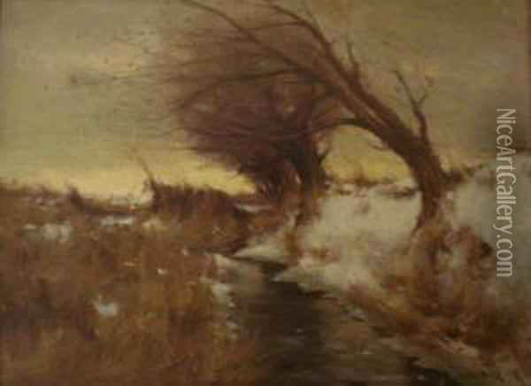 Paysage De Neige Oil Painting - Gustave Wolff
