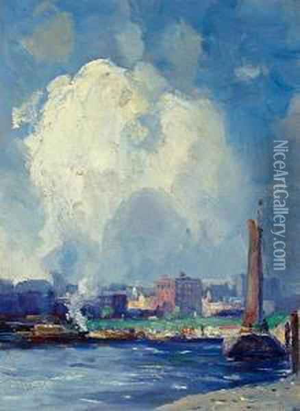 Harbor View Oil Painting - Gustave Wolff