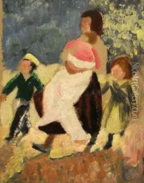 Mother And Child And Children In A Garden Oil Painting - Christopher Wood
